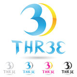 Colorful and abstract icons for number 3 Royalty Free Stock Image