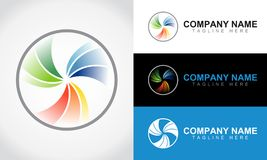 Colorful Abstract Lens Logo Design Template royalty free illustration