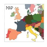 Colorful abstract map of europe, travel concept, vector stock photo