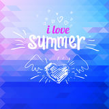Colorful abstract mosaic background i love summer. sketch letter Royalty Free Stock Images