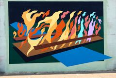 Colorful Abstract Mural On James Road in Memphis, Tennessee. Beautiful Abstract Mural on a bridge underpass in the Raleigh-Frayser area of Memphis Tennessee stock photo