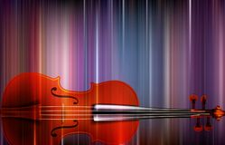 Abstract violin background. Colorful abstract musical background arranged in vertical segments with a violin superposed in a horizontal position vector illustration