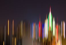 Colorful abstract night lights of New York City downtown skyline Royalty Free Stock Image