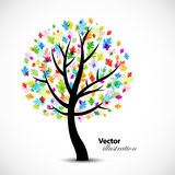 Colorful abstract oak tree vector illustration