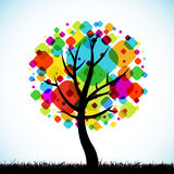 Colorful abstract oak tree royalty free illustration