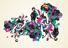 Colorful abstract organic shapes stock illustration