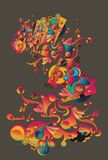 Colorful abstract organic shapes royalty free illustration