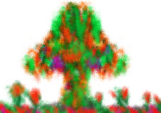 Colorful abstract paint  tree. Images for Colorful backgrounds for design illustration Stock Image