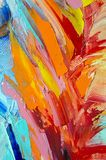 Fragment. Multicolored texture painting. Abstract art background. oil on canvas. Rough brushstrokes of paint. Closeup of a paintin. Colorful abstract painting royalty free stock image