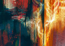 Colorful abstract painting. Composition with orange glowing of fire flames Stock Photography