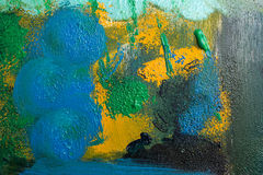 Colorful abstract painting. Picture closeup. Creative background top view, bright colors, art concept Royalty Free Stock Photography