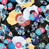 Colorful abstract pattern and butterflies Stock Photos