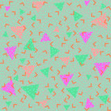 Colorful abstract pattern with green and pink triangles. Memphis style seamless pattern. Colorful geometric trend. Bright abstract background for banner, ticket vector illustration