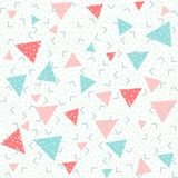 Colorful abstract pattern with pink, red and blue triangles on a white background. Memphis style seamless pattern. Colorful geometric trend. Bright abstract vector illustration