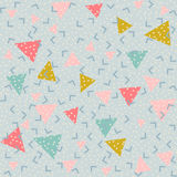 Colorful abstract pattern with triangles. Memphis style seamless pattern. Colorful geometric trend. Bright abstract background for banner, ticket, leaflet, card stock illustration