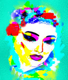 Colorful, abstract pop art image of woman`s face with flowers in hair. Colorful abstract pop art image of woman`s face with flowers in hair. This is a 3d Royalty Free Stock Images