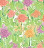 Colorful abstract psychedelic seamless background impressionistic  floral. Abstract floral wallpaper repeat pattern floral garden Stock Photo