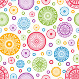 Colorful abstract seamless background. Colorful seamless background with circles and stylized flowers Stock Photo