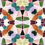 Colorful abstract seamless kaleidoscope texture with colorful ornaments. Brown, pink, purple, green, blue royalty free illustration