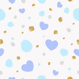 Colorful abstract seamless pattern with hearts and golden glitter texture. Stock Image