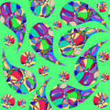Colorful abstract seamless pattern with Paisley and seamless pat Royalty Free Stock Image