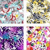 Colorful abstract seamless patterns Stock Photography
