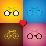 Colorful abstract set of bike or cycle icons - vector graphic. This graphic includes colors like orange, blue, pink and brown and cycle signs with love for Stock Illustration