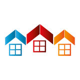 Colorful abstract set collection roof and windows house Stock Photos