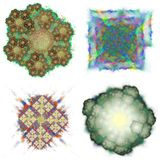 Colorful abstract shapes. Set of four different colorful abstract fractal shapes and structures, isolated on white background Royalty Free Stock Photo