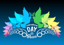 Colorful abstract silhouettes of doves with olive branch. Illust. Ration of international peace day, September 21. Element design for poster, greeting card Stock Images
