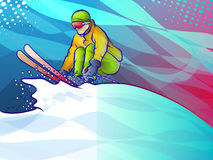 Colorful abstract skiier Stock Photo