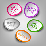 Colorful abstract stickers sale template Stock Images