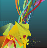 Colorful abstract streamers. A colorful abstract illustration of streamers on a blue background Royalty Free Stock Image