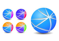 Colorful abstract striped sphere balls icons Royalty Free Stock Images