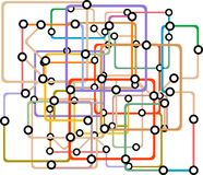 Colorful abstract subway map. Vector. Illustration. railway pattern Stock Photography
