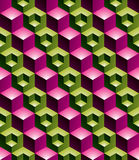 Colorful abstract textured geometric seamless pattern with 3d ge. Ometric figures. Vector bright textile backdrop Stock Image
