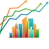 Colorful abstract towers and rising arrows. Real estate concept stock illustration