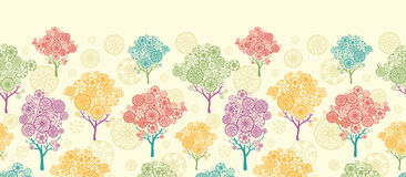 Colorful abstract trees horizontal seamless Stock Photo