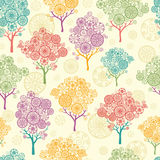 Colorful abstract trees seamless pattern. Vector colorful abstract trees seamless pattern background with hand drawn decor elements Stock Photography