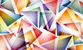Colorful abstract triangle pattern on white background, colorful bright and fun design with layers of geometric shapes Stock Photo