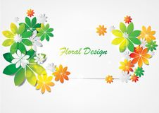 Colorful leaves abstract vector label design Royalty Free Stock Image