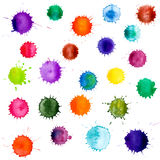 Colorful abstract vector ink paint splats. Set of watercolor blobs, isolated on white background Royalty Free Stock Image