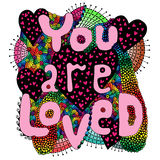 Colorful abstract vector word lettering You are loved Royalty Free Stock Photo