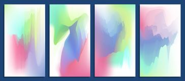 Colorful abstract vibrant blurred holographic gradients vector backgrounds set. Illustration for design Royalty Free Stock Photography