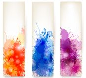 Colorful abstract watercolor banners. Royalty Free Stock Photo