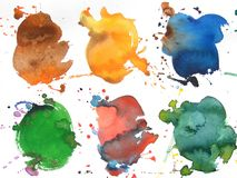 Colorful abstract watercolor brush backgroud. Colorful abstract watercolor brush splash background with blue green red and orange Royalty Free Stock Images