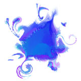 Colorful abstract watercolor stain with splashes. Vector. Colorful abstract watercolor stain with splashes and spatters isolated on white background. Hand Royalty Free Stock Photos