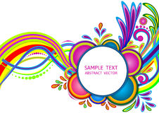 Colorful abstract wave and circle vector decorative background stock illustration