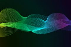 Abstract background with dynamic linear waves. Stylized lines element for design. Colorful abstract waves vector backgroud. Digital frequency track equalizer Royalty Free Stock Image