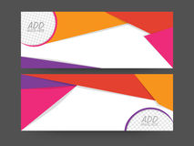 Colorful abstract web header or banner set. Colorful abstract website header or banner set with space for your images stock illustration